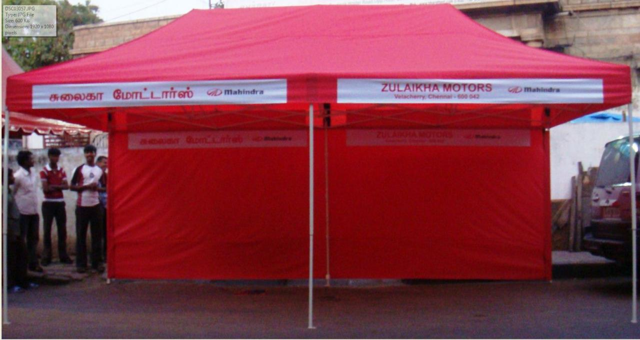 ... folding tent 10 x 20 ft with backside cloth -red - branding ... & Bharat Tent Works - folding tent images 10 f x 10 ft  10 f x 20 ft.